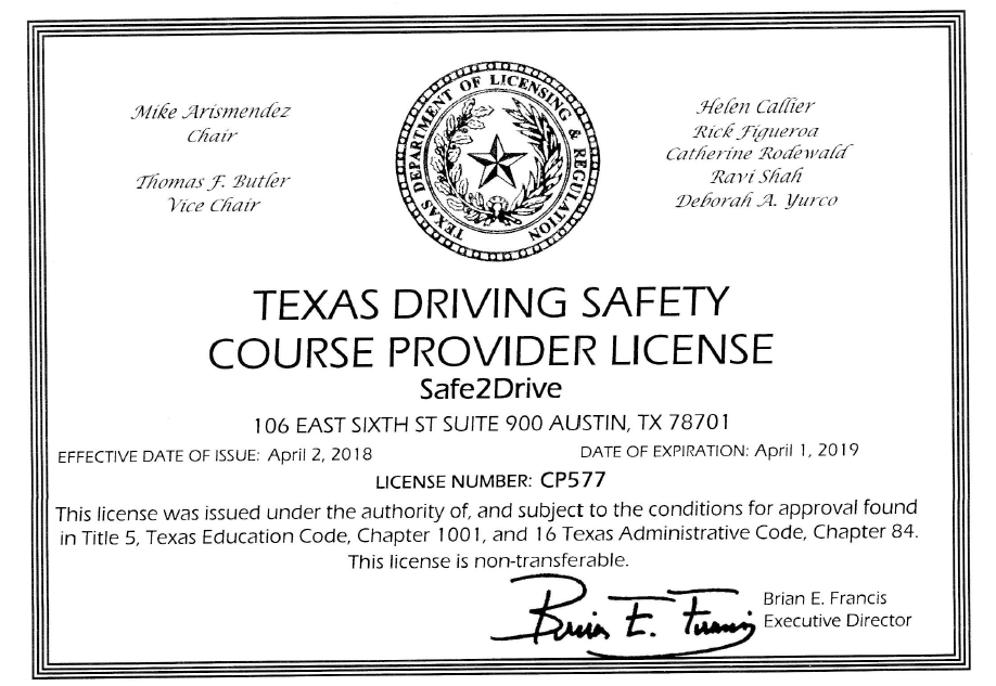 Tldr Course Provider License For Texas Driver Safety