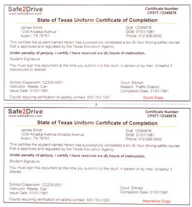 Texas Driver Education Certificate - Safe2Drive Traffic School